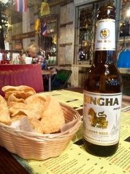 beer and prawn crackers